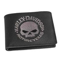 "Harley-Davidson Men's Embroidered Willie G Skull Billfold Wallet, XML6172-GRYBLK - 4.25"" x 3.5"""