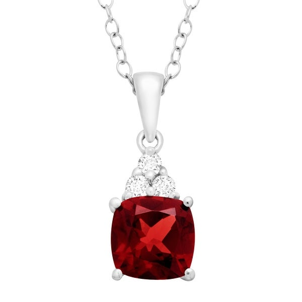 2 ct Natural Garnet & White Topaz Pendant in Sterling Silver
