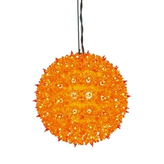 "7.5"" Orange Lighted Hanging Star Sphere Christmas Decoration"