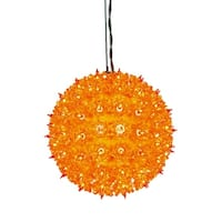 "7.5"" Orange Lighted Hanging Star Sphere Christmas Decoration - YELLOW"