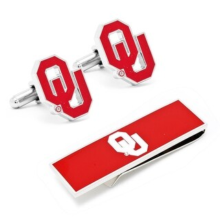 University of Oklahoma Sooners Cufflinks and Money Clip Gift Set NCAA - Red
