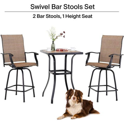 Pyramid Home Decor Pyramid Home Decor 3-Piece High Swivel Bar Set - High Top Tempered Glass Table with 2 Stools