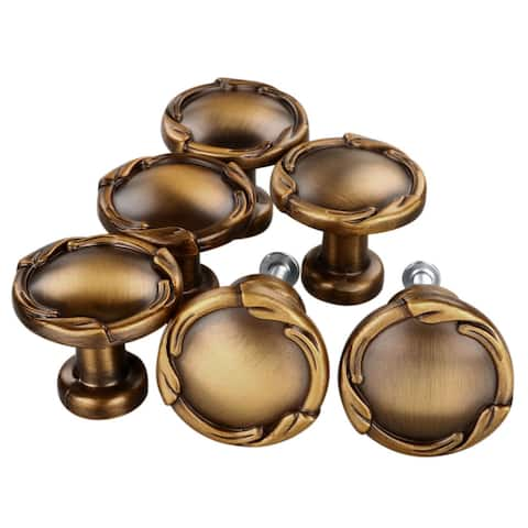 """6xVintage Oil Rubbed Bronze Cabinet Pull Drawer Handle Knob Hardware - 1.18 x 1.02"""""""