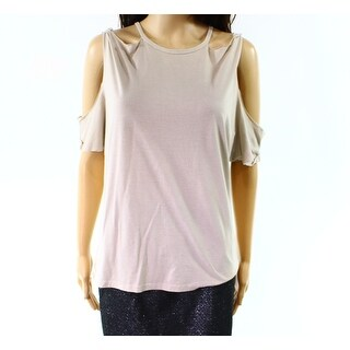 Project Social T NEW Beige Suede Women Large L Cold-Shoulder Knit Top
