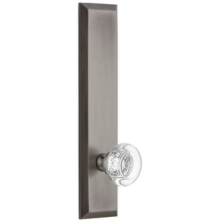 Grandeur FAVBOR_TP_SD_NA  Fifth Avenue Solid Brass Rose Tall Plate Single Dummy Door Knob with Bordeaux Crystal Knob
