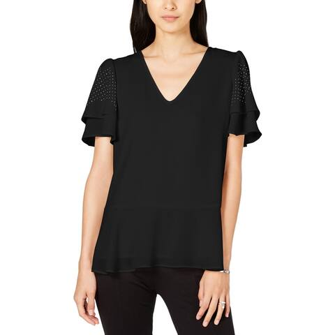 Michael Kors Womens Blouse Embellished Peplum