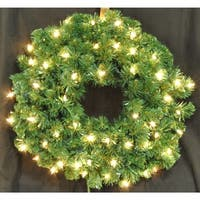 Christmas at Winterland WL-GWSQ-02-ICL 2 Foot Pre-Lit Incandescent Clear Sequoia Wreath