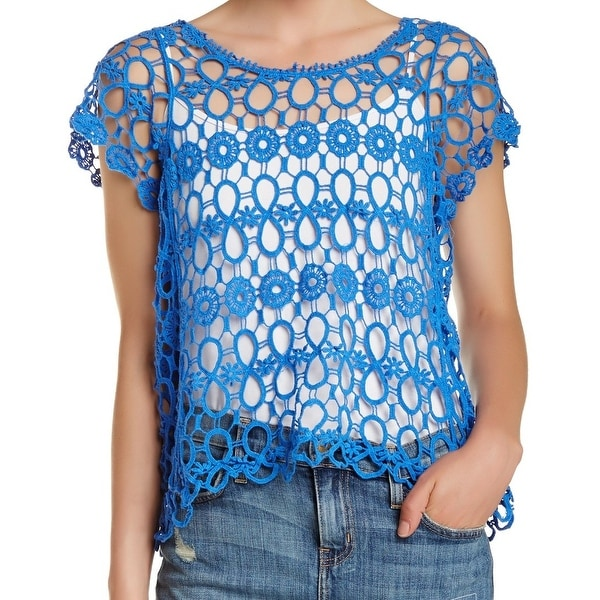 Shop Bobeau New Blue Crochet Lace Embroidered Womens Small S Open