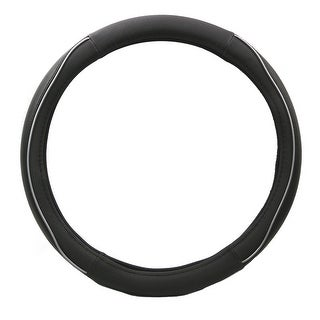 KM World Black 14.5-15 Inch Rubber Steering Wheel Cover with White rubber and PU Leather Hand Placements, Fits Toyota Camry