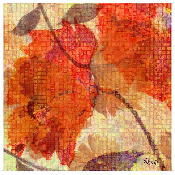 """""""Orange Abstract Floral"""" Poster Print"""