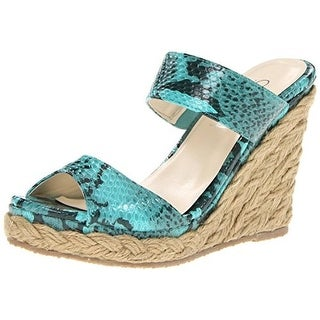 Christin Michaels Womens Zina Wedges Snake Print Platforms