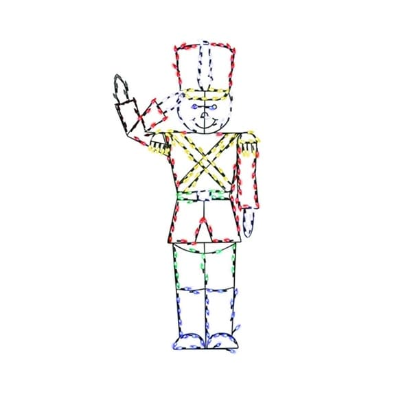 "60"" Pre-Lit Multi-Color LED Animated Saluting Soldier Christmas Outdoor Decoration - multi"