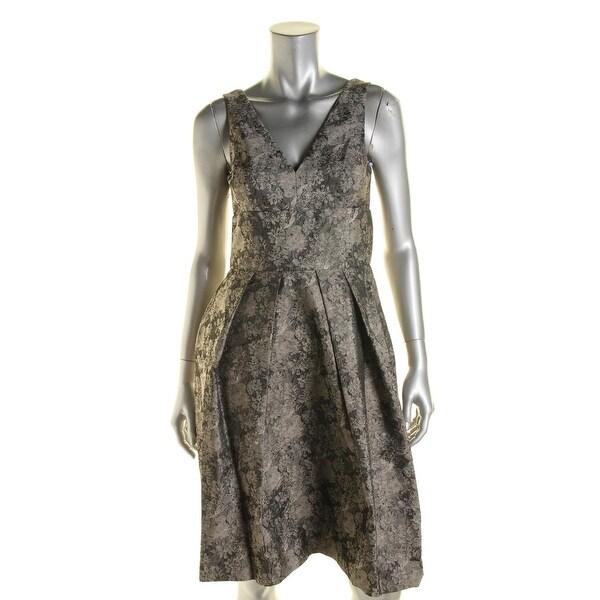 Vera Wang Womens Cocktail Dress Metallic Jacquard