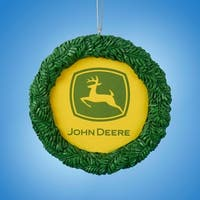 "3.75"" John Deere Decorative Wreath Christmas Ornament - green"