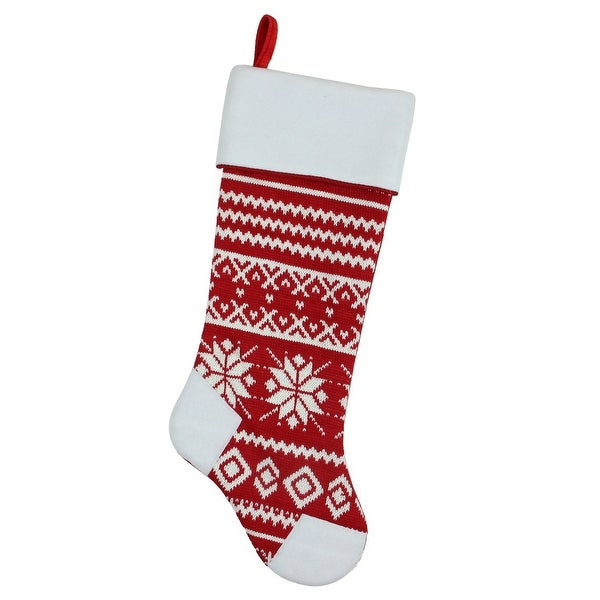 "21.5"" Red and White Knitted Snowflake Christmas Stocking with Fleece Cuff"