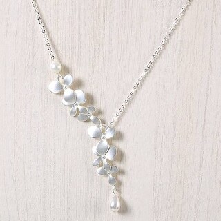 Mad Style Silver Falling Orchid Pearl Necklace