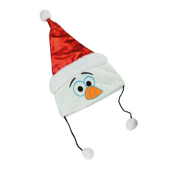 "16"" Disney Frozen Plush Olaf Christmas Santa Hat with White Faux Fur Trim and Hanging Pompoms - RED"