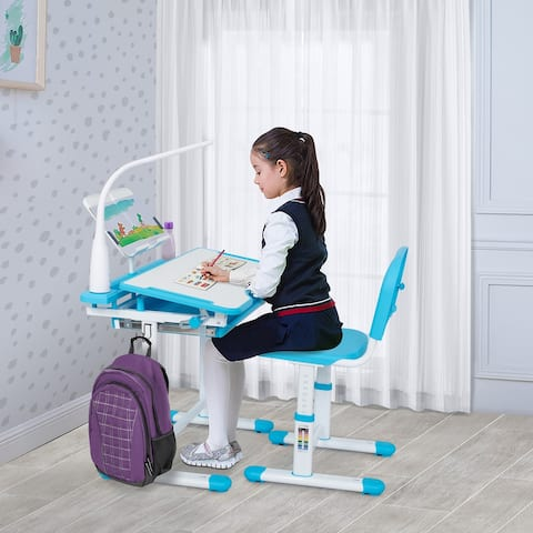 KID Height Adjustable Table & Chair Set w/Lamp, Drawer & Bookstand - N/A