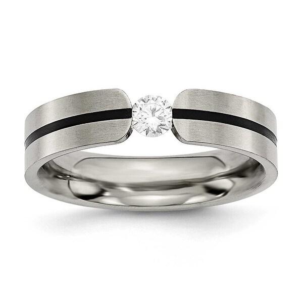 Chisel Titanium and 1/3ct. Round Diamond Ring (6.0 mm)