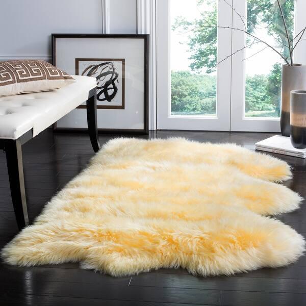 Safavieh Handmade Natural Sheepskin Leanca Shag Solid Rug On Sale Overstock 20602775