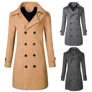 Men Winter Warm Jacket Overcoat Outwear Slim Long Trench Buttons Coat