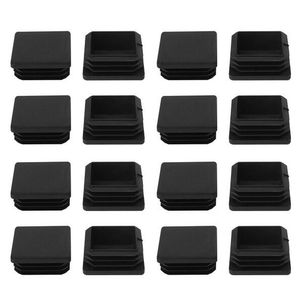 45 x 45mm Plastic Square Ribbed Tube Inserts End Cover Cap