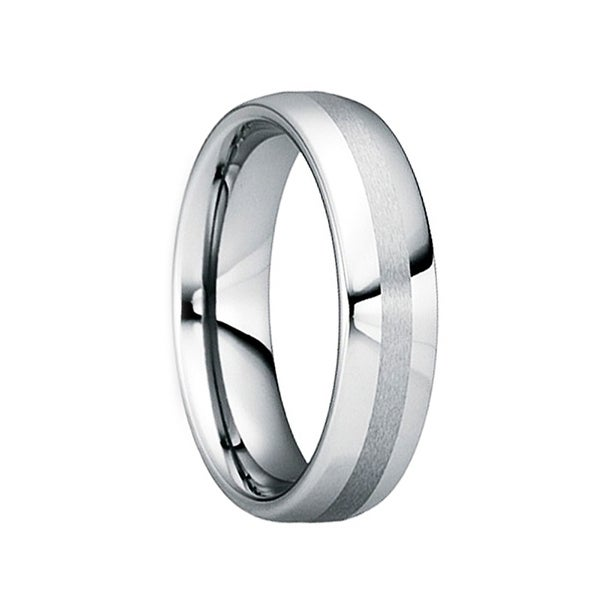 OCTAVIANUS Polished Comfort Fit Tungsten Wedding Ring with Brushed Center by Crown Ring - 6mm