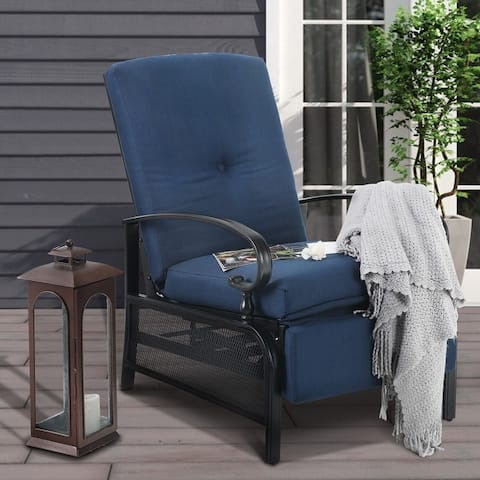 PHI VILLA Outdoor Patio Metal Adjustable Relaxing Recliner Lounge Chair with Cushion - N/A