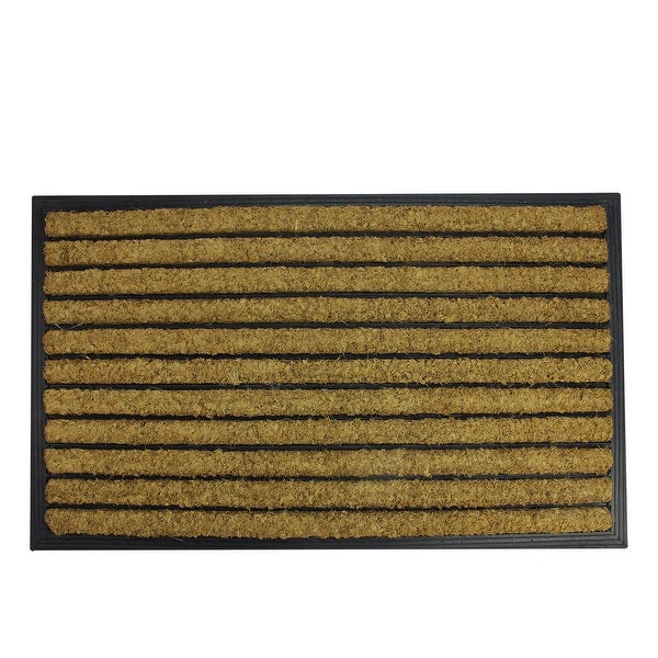 "Decorative Black Rubber and Coir Striped Outdoor Rectangular Door Mat 29.5"" x 17.75"""