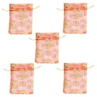Jewelry Packing Pouch Wedding Favor Organza Gift Bags Red Gold Tone 5pcs