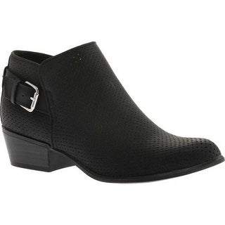 Portland Boot Company Women's Talia Perforated Ankle Bootie Black Nubuck Polyurethane