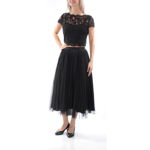 c58db40346e26 Shop ADRIANNA PAPELL Womens Black Lace 2 Pc Short Sleeve Jewel Neck Tea  Length Pleated Formal Dress Size  4 - Free Shipping Today - Overstock -  21312850
