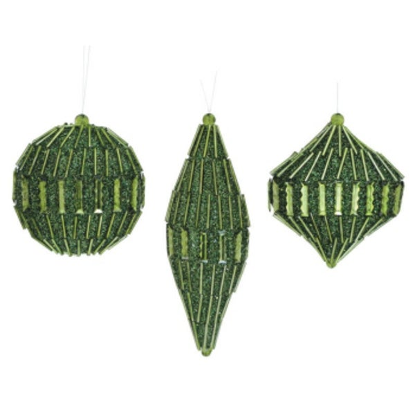 """Club Pack of 12 Glittered and Beaded Green Christmas Ornaments 4""""-7"""""""