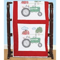 "Stamped White Quilt Blocks 18""X18"" 6/Pkg-Tractor"