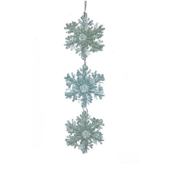 "6"" Silent Luxury Mint Green Glitter Snowflake Pendent Christmas Ornament"