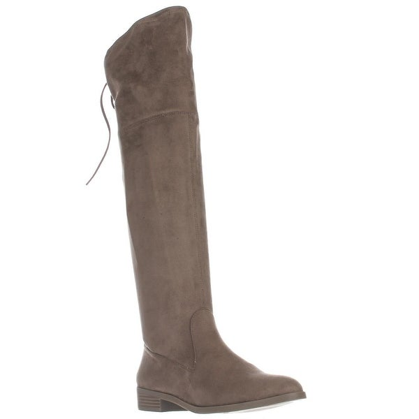 I35 Imannie Over The Knee Back Tie Boots, Warm Taupe