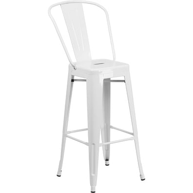 Collins 30'' High White Metal Indoor/Outdoor/Patio/Bar Barstool w/Back