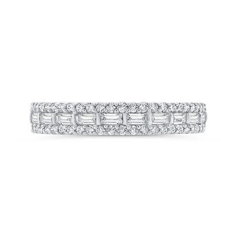 10K White Gold 5/8ct TDW Baguette and Round Diamond Band (I-J, I1)