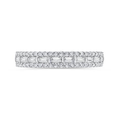 14K White Gold 5/8ct TDW Baguette and Round Diamond Band (I-J, I1)