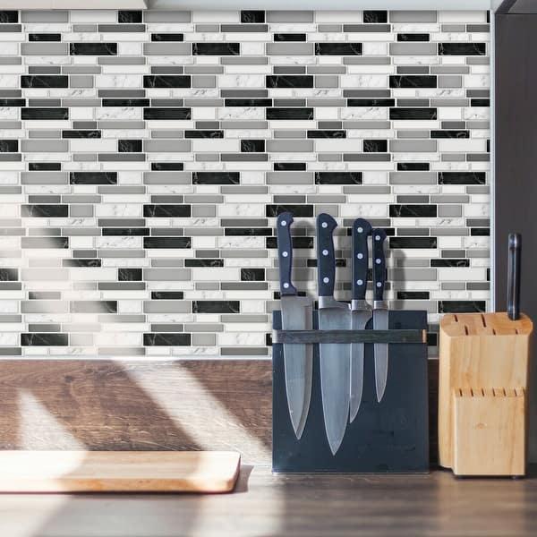 Walplus Mosaic Glossy 3D Metro Peel and Stick Backsplash Tile Stickers -  Overstock - 31813449