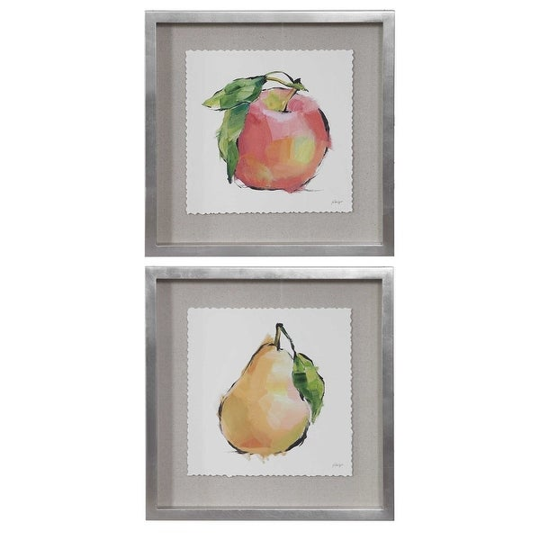 """Set Of 2 Designer Fruits Canvas Hand Painted Indoor Painted Wall Art 21"""" - N/A"""