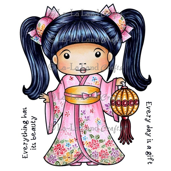 "La-La Land Cling Stamps 4.5""X3.5""-Kimono Marci With Lantern"