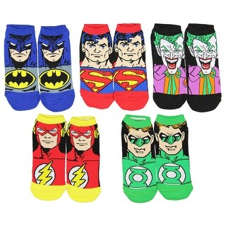 DC Comics Justice League Characters Flash Batman Superman Green Lantern The Joker 5 Pack Ankle Socks