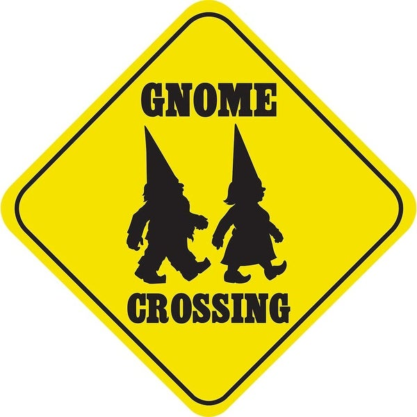 Crossing Gnome Funny Yellow Aluminum Caution Sign