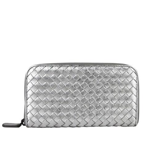 Bottega Veneta Women's Woven Silver Metallic Leather Zip Around Wallet 114076 1420 - One size