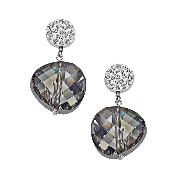 Aya Azrielant Drop Earrings with Swarovski Crystals Beads in Sterling Silver - Black