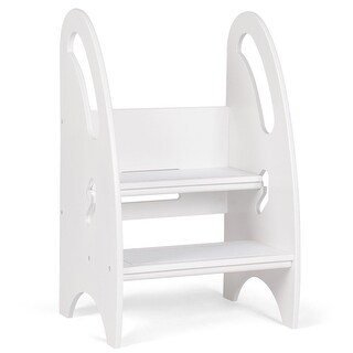 Gymax Growing Step Stool Height Adjustable Kids Footstool Nursery Kitchen Bathroom - White