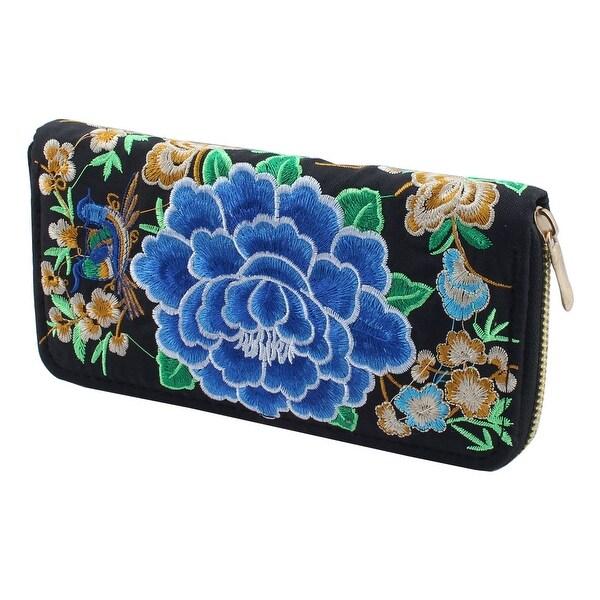 Women Embroidered Flower Design Zip Up Coin Holder Purse Money Wallet Black Blue