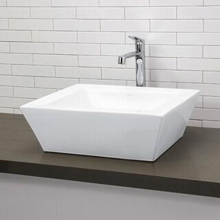 """DecoLav 1432 18"""" Square Ceramic Vessel Bathroom Sink"""