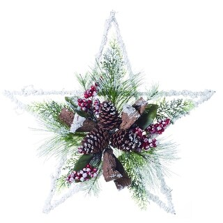 """Link to Set of 2 White and Green Decorative Christmas Star Wall Decor 24"""" Similar Items in Decorative Accessories"""